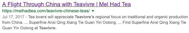 Sample Search Results for Teavivre