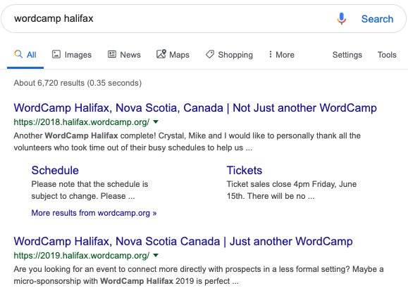 wordcamp halifax search results screen capture August 7th, 2019