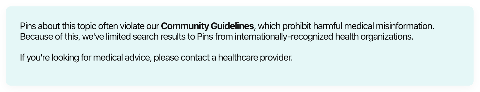 Pinterest's disclaimer about limiting search results for Coronavirus