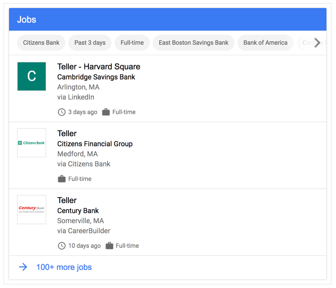 Google 'Jobs' search result for teller in SERP