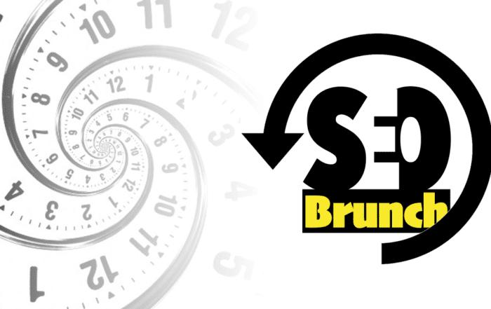 SEO Brunch recap logo with swirling clock