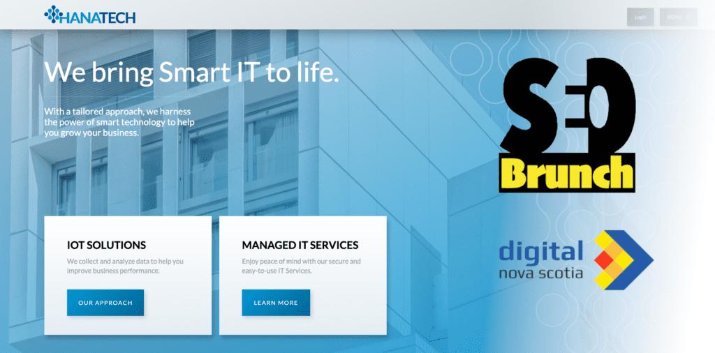 hanatech website with seo brunch & digital nova scotia logos