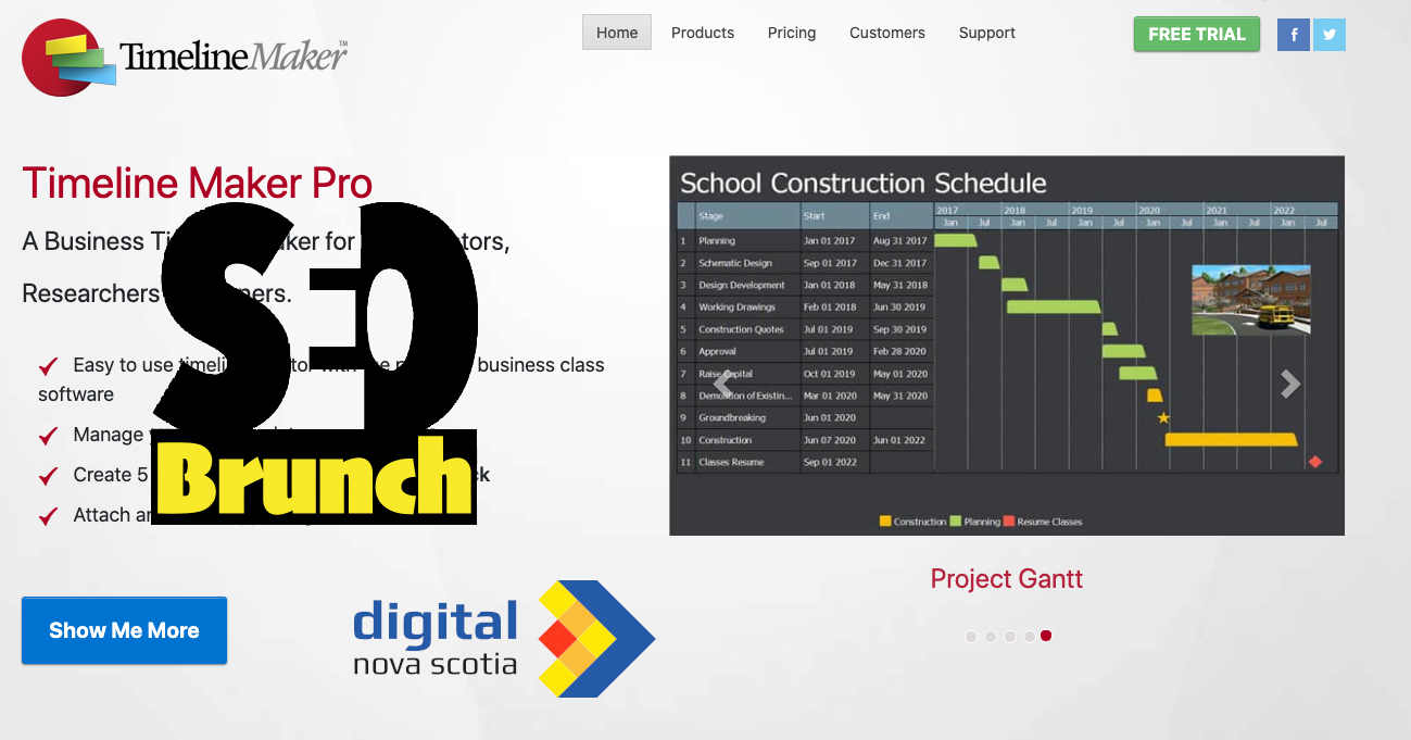 timeline maker pro website with SEO Brunch and DNS logos