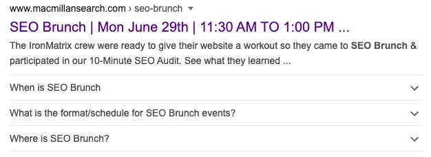 Screenshot of SEO Brunch SERP
