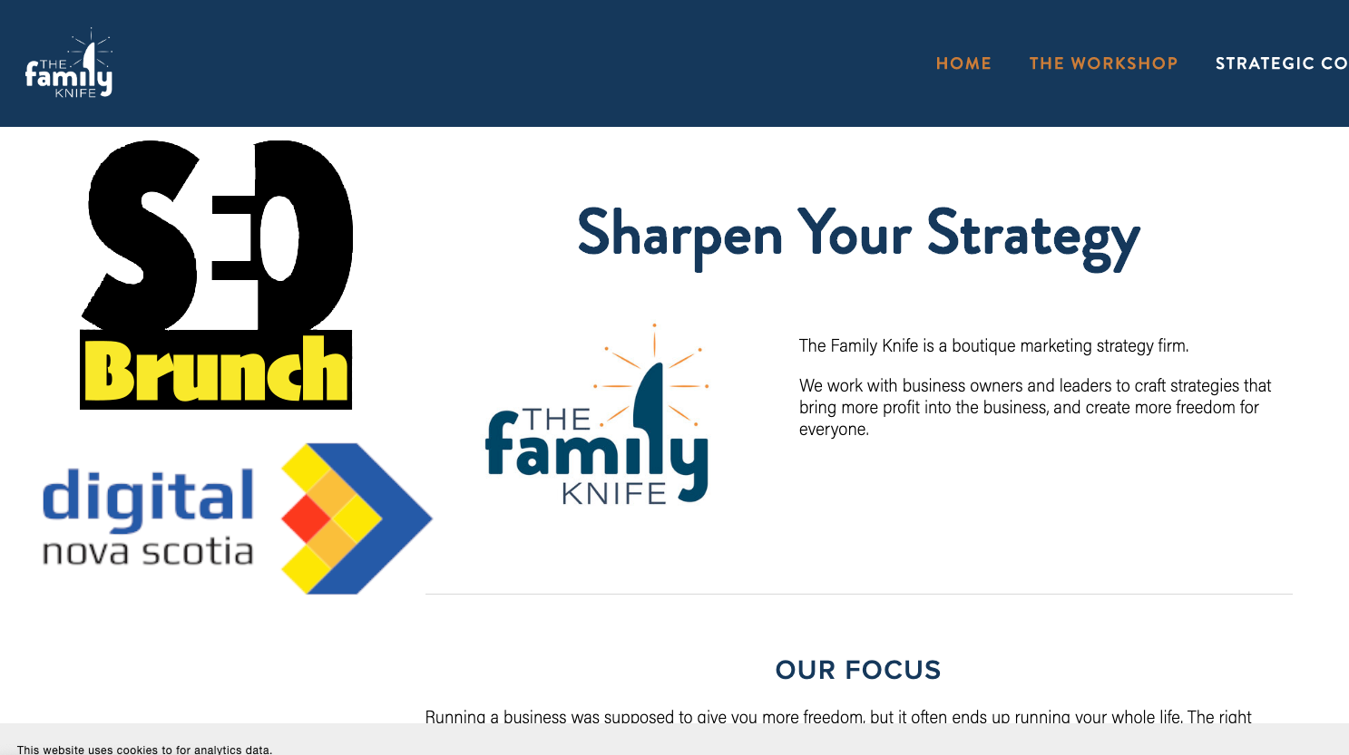 The Family Knife company website home page with DNS and SEO Brunch logos