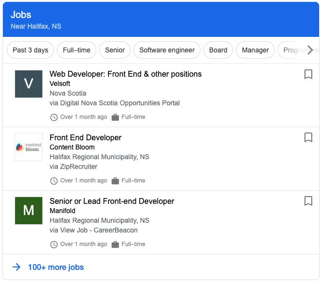 job posting results in google serp