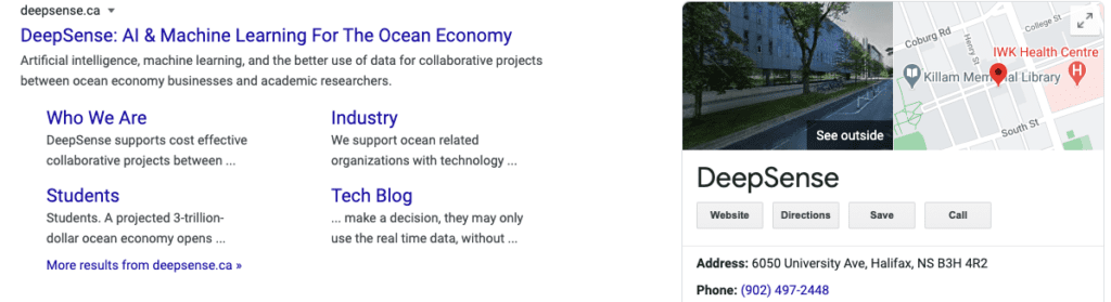 New DeepSense SERP results with better sitelinks and Google Maps box