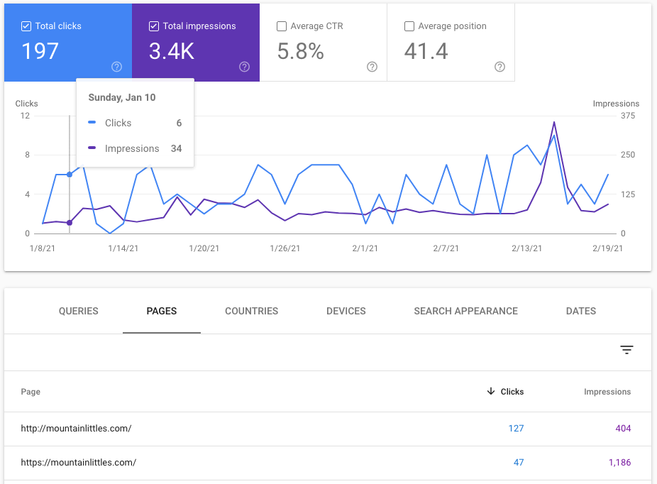 Screenshot of Google Search Console data for Mountain Littles