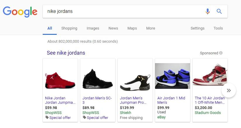 Screen shot of Google Results for Nike Jordans with Shop carousel