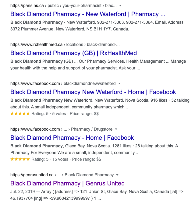 lower page serp results for black diamond pharmacy query example